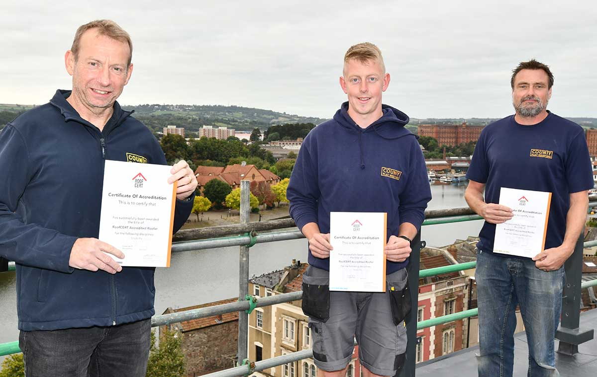 County Flat Roofing operatives receive their RoofCERT accreditation certificates