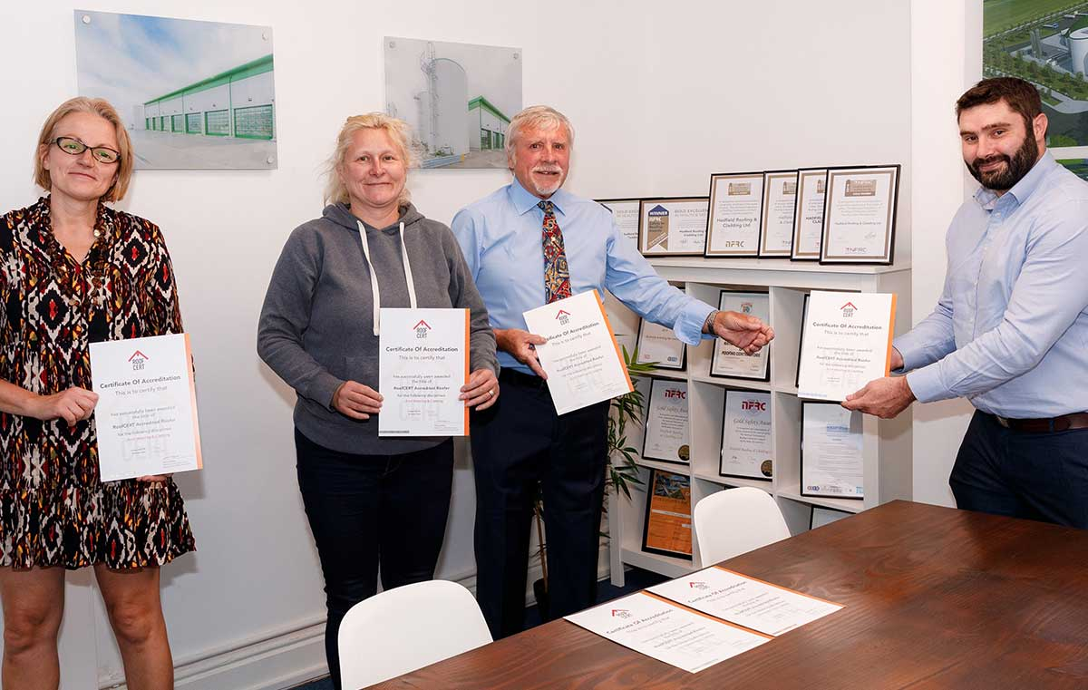 Hadfield​ Roofing​ and Cladding operatives receive their RoofCERT accreditation certificates