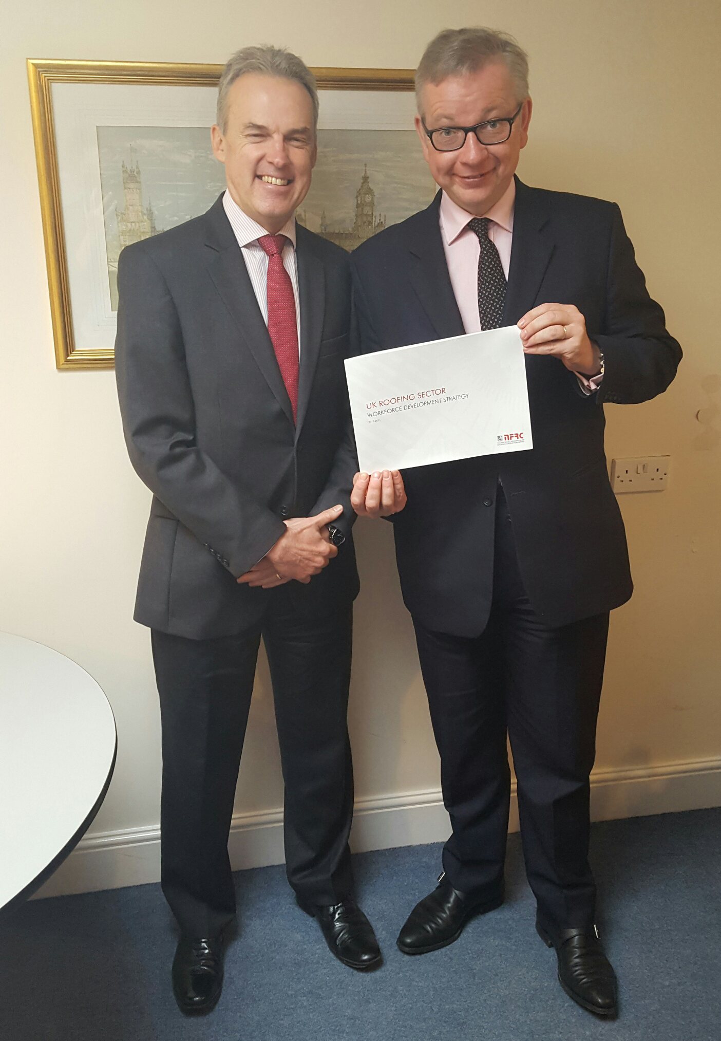 NFRC Chief Executive James Talman presenting workforce development strategy report to Rt Hon Michael Gove